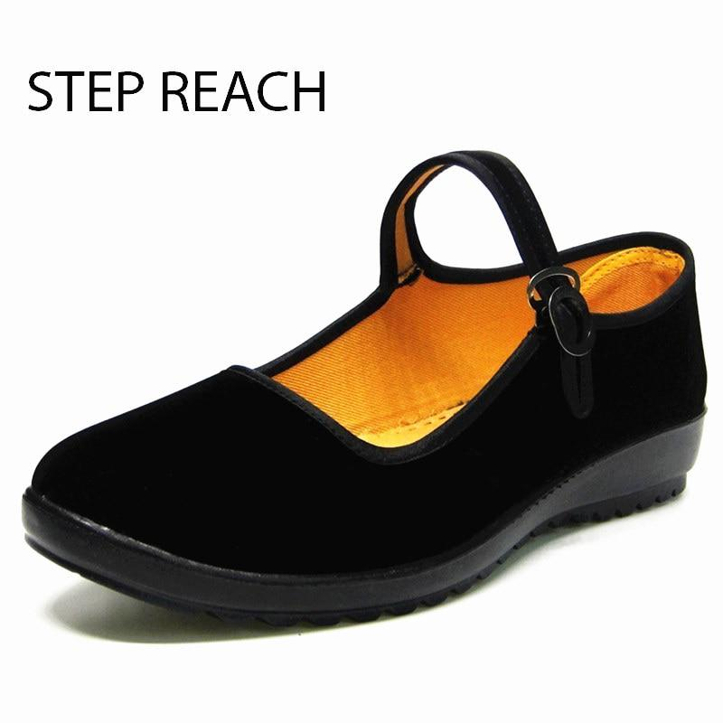 STEPREACH Woman Mary Jane shoes flat Black canvas comfortable spring