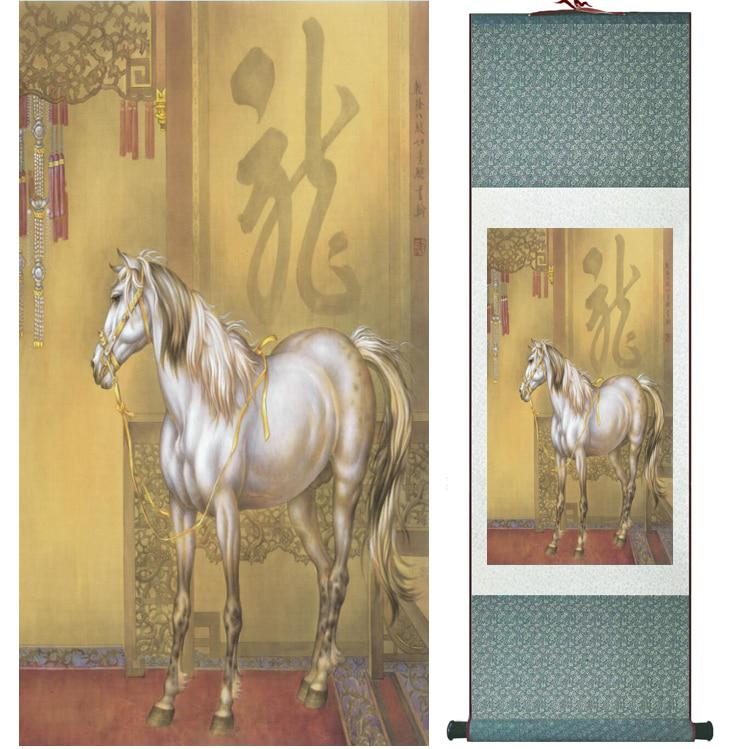 traditional chinese art painting horse art painting silk scroll art