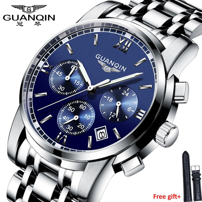 Fashion watch men Luxury top brand GUANQIN steel men watch