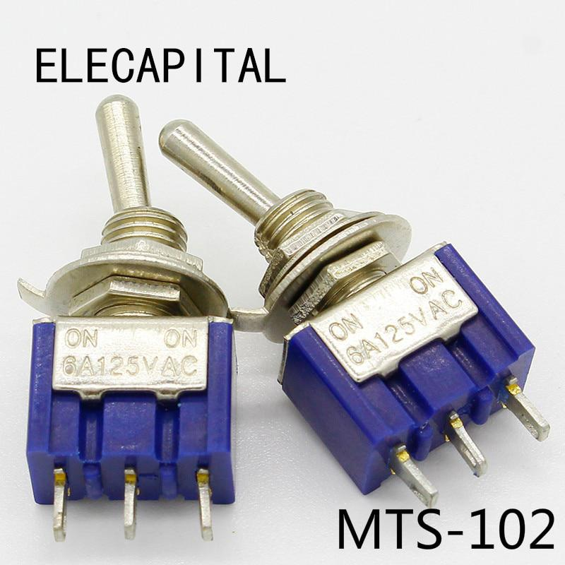 5 unids/lote Mini MTS-102 3-Pin SPDT ON-ON 6A 125 V