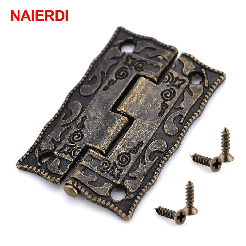 10PCS NAIERDI Antique Bronze Hinges Cabinet Door Drawer Decorative Mini