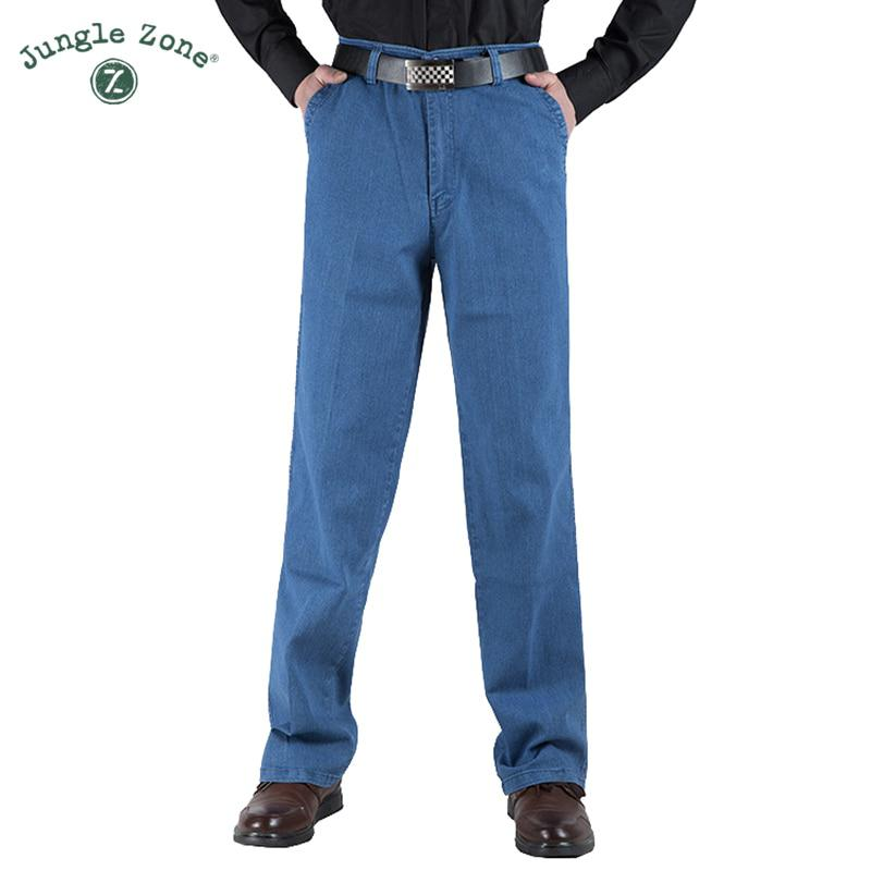 JUNGLE ZONE Thin section Man Middle-aged Jeans Casual Middle Waist