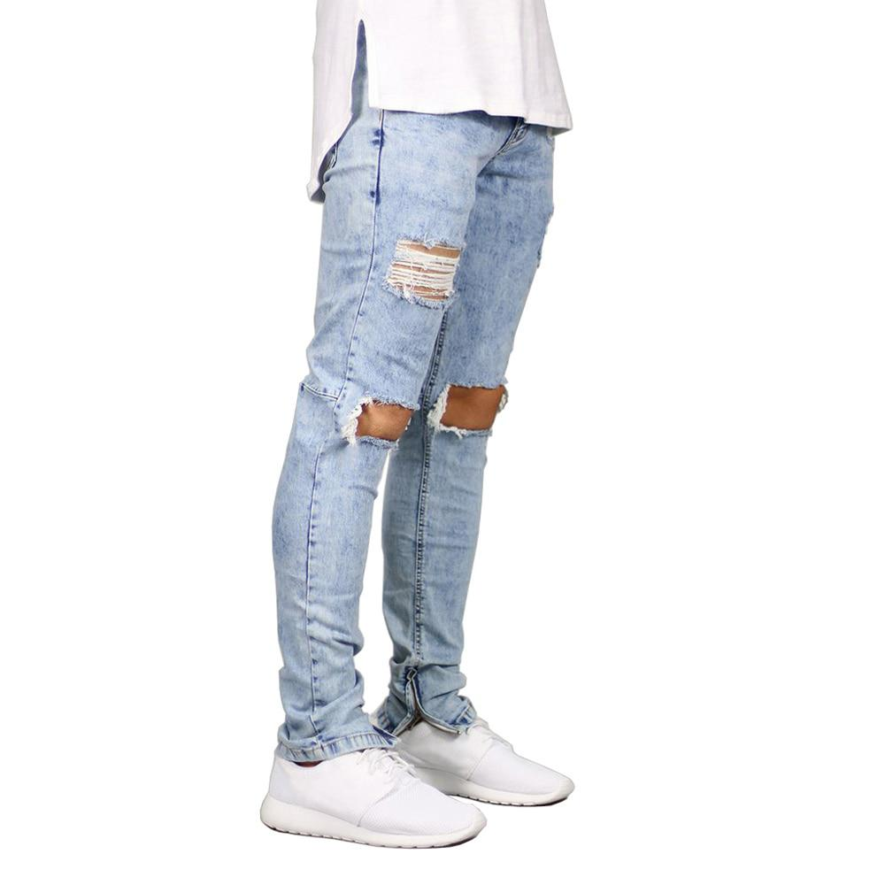 Men Jeans Stretch Destroyed Ripped Design Fashion Ankle Zipper Skinny