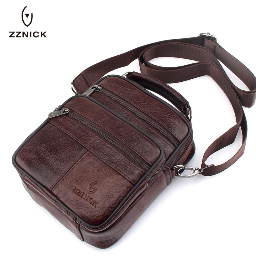 ZZNICK 2017 Genuine Cowhide Leather Shoulder Bag Small Messenger Bags