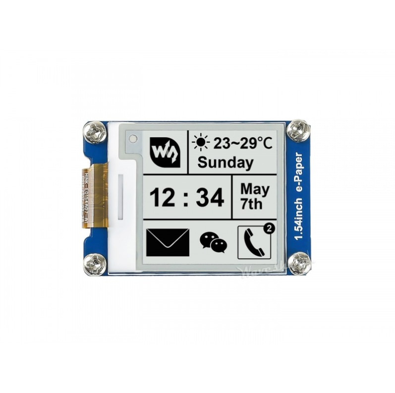 200x200, 1.54inch E-Ink display module with embedded controller Communicate via