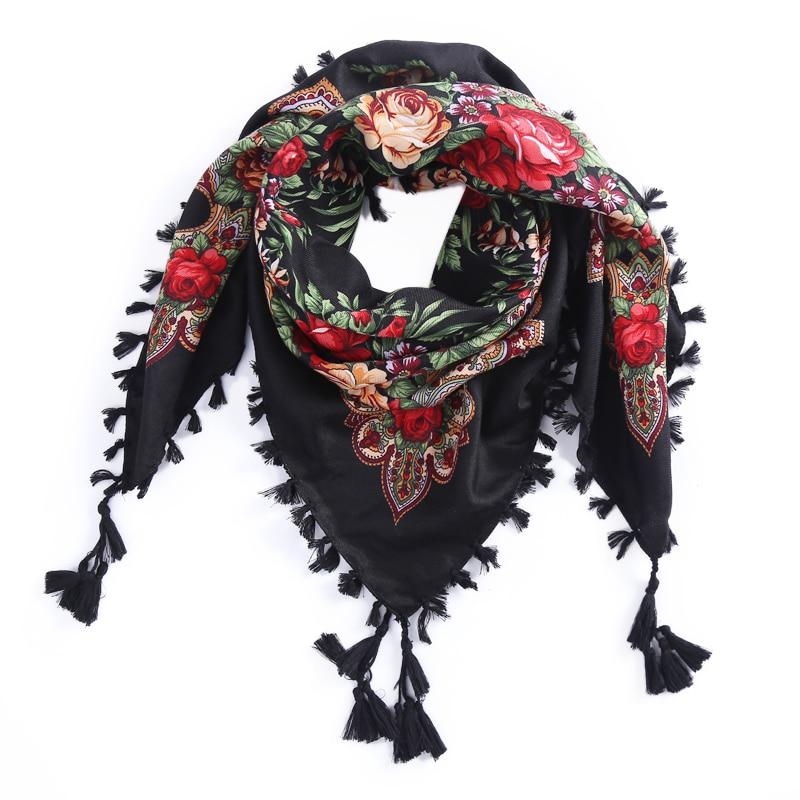 Russia new hot sell Wquare Fashion decorative Scarf handmade tassel