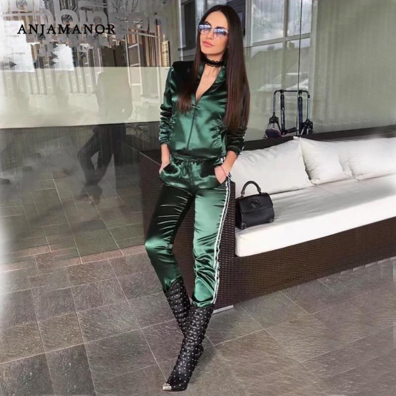 Satin two piece set tracksuit for women elegant top and