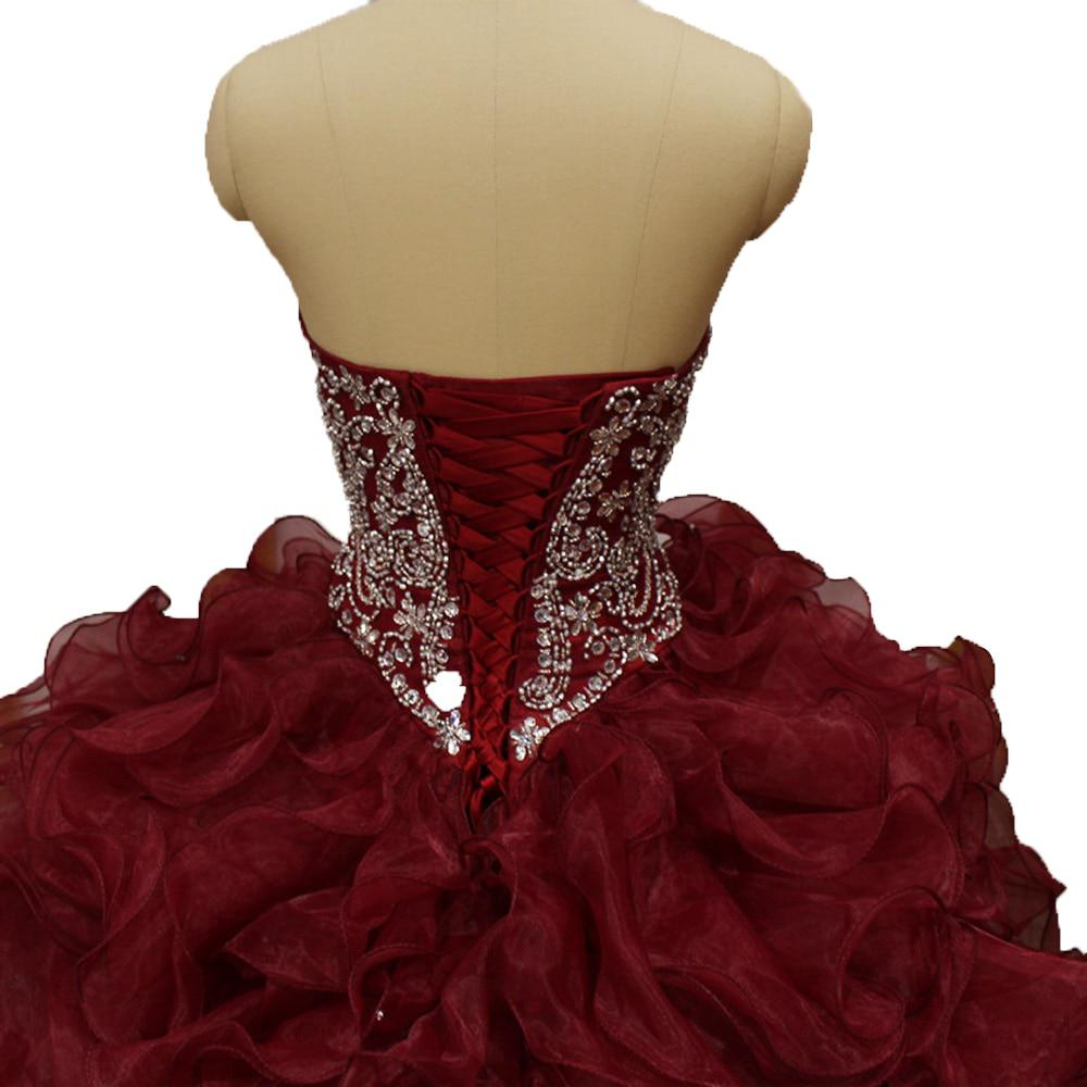 New Cheap Crystal Beads Burgundy Quinceanera Dresses 2019 Masquerade Ball  Gowns Ruffles - US $155 99