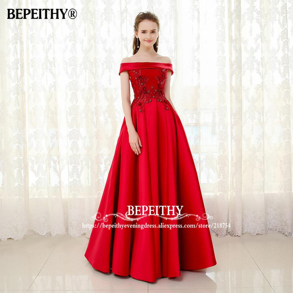 BEPEITHY Off The Shoulder Long Evening Dress Short Sleeves Lace Top ...