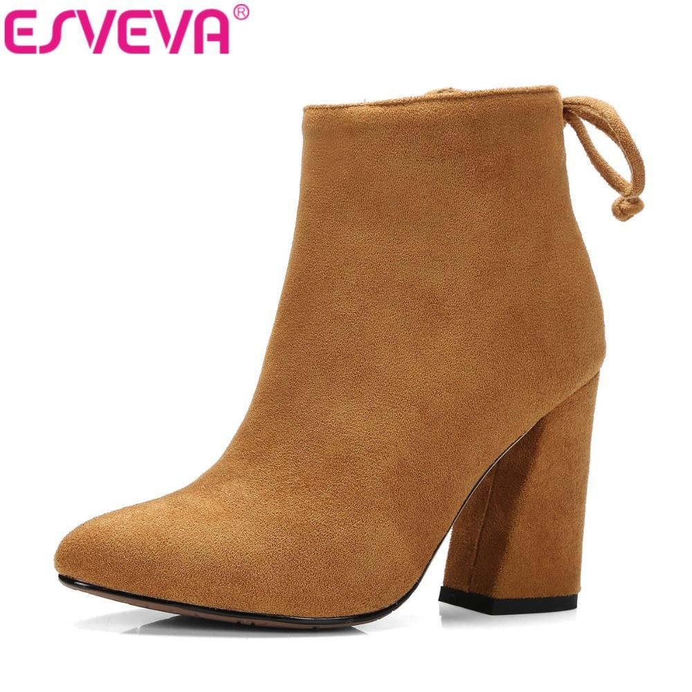 ESVEVA 2017 Women Boots Flock Ankle Boots Round Toe Winter