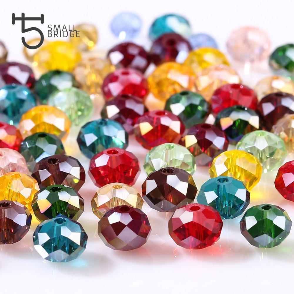 4 6 8mm Czech Rondelle Spacer Crystal Beads Faceted Wheel