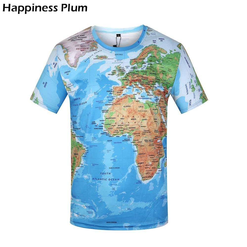 KYKU Brand 3D T Shirt Men World Map T-shirt Funny