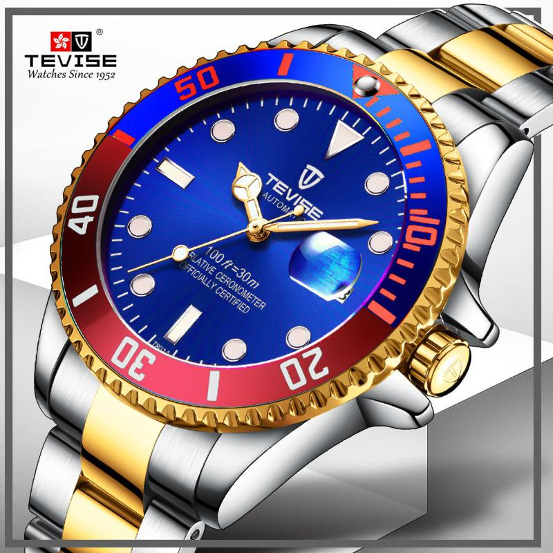 Tevise Top Brand Men Mechanical Watch Automatic Role Date Fashione