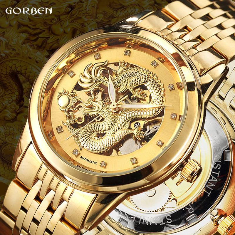 Luxury Dragon Skeleton Automatic Mechanical Watches For Men Wrist Watch
