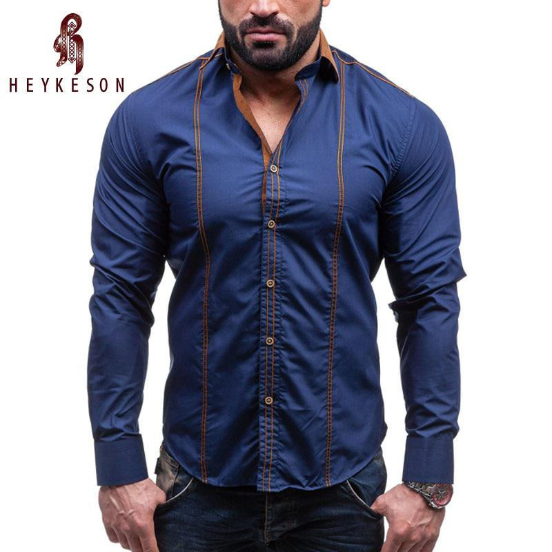 HEYKESON Men Shirt Brand 2017 Male Large Size Long Sleeve