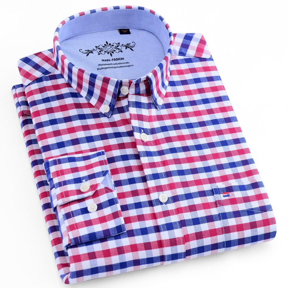 Men's Long Sleeve Contrast Plaid/Striped Oxford Dress Shirt with Left