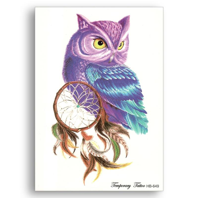 4b245159b2168 Fake Temporary tattoo Water Transfer Color Bird owl Dreamcatcher Stickers