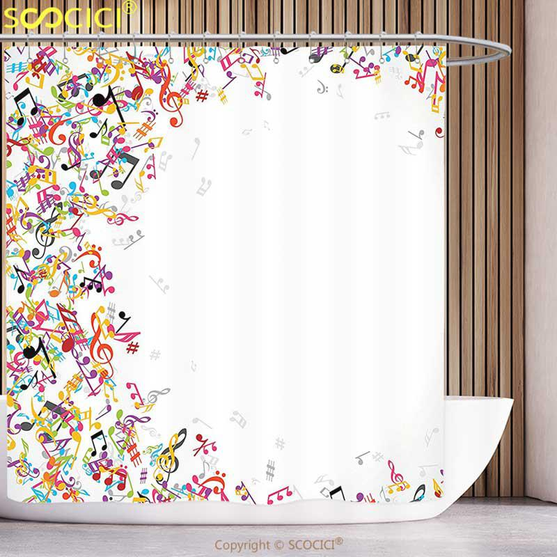 Waterproof Shower Curtain Music Decor Colorful Notes Frame Decorating
