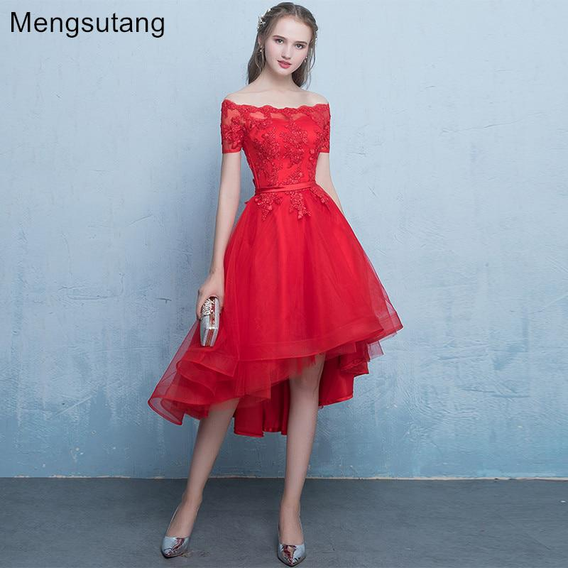 cda2cdce93b Robe de soiree 2019 New arrival Red lace up evening dress with Appliques  Party Dresses prom