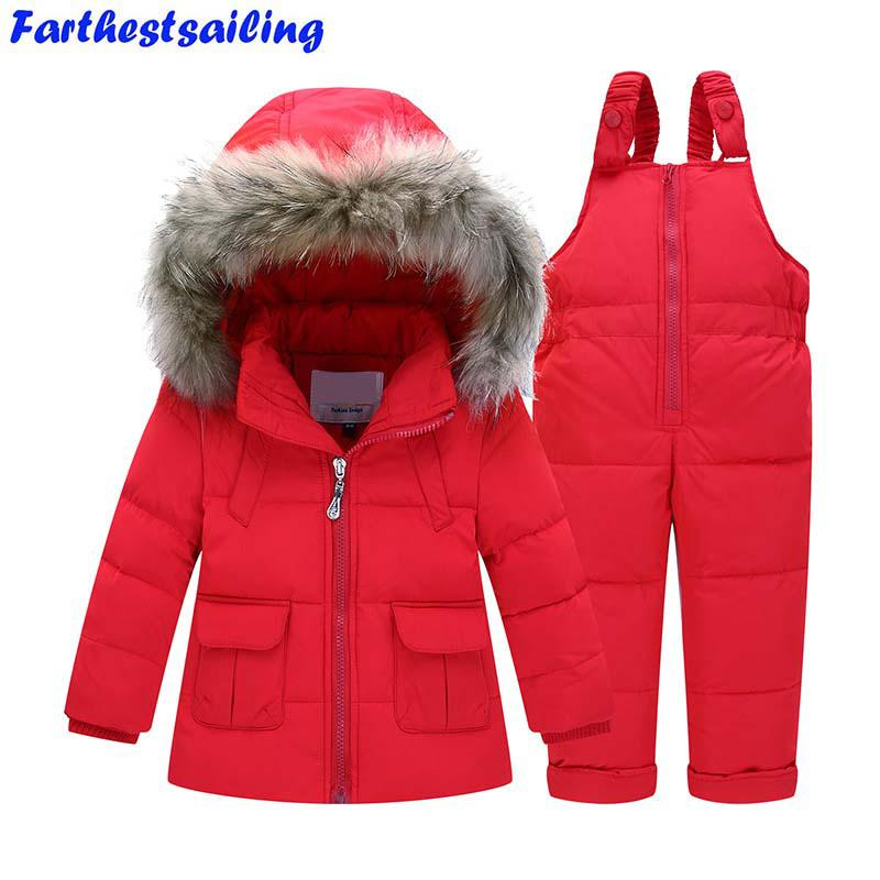 320cc33f17bf Winter Suits for Girls Boys Children Clothing Sets Baby Snow Jackets ...