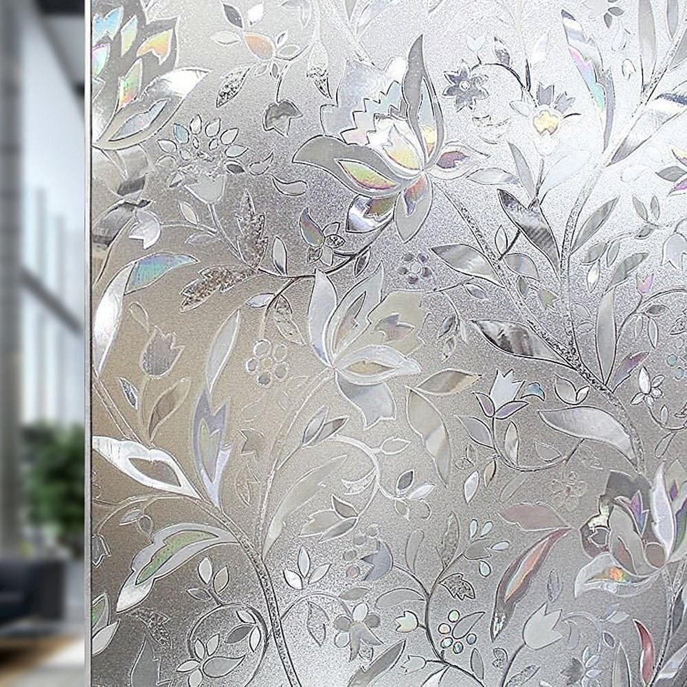 new tulip flower 3d static cling decorative privacy etched glass window film pricearchiveorg - Christmas Decorative Window Film