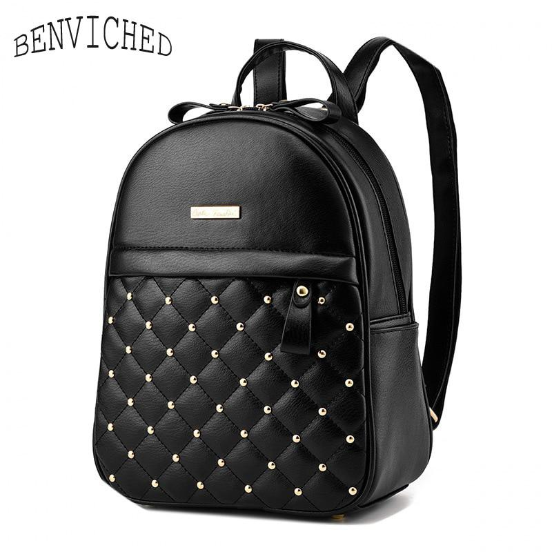 2019 Fashion Women Casual Travel Bead Backpack School Bags PU ... 162028c8746b2