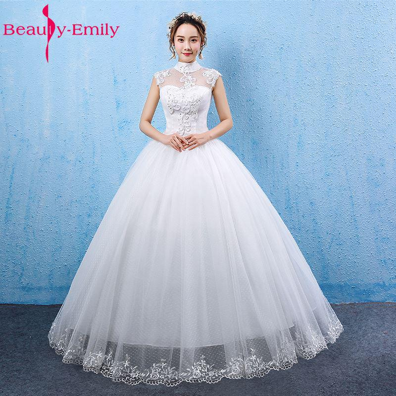 Beauty Emily White Wedding Dresses 2017 Ball Gown High Neck Lace