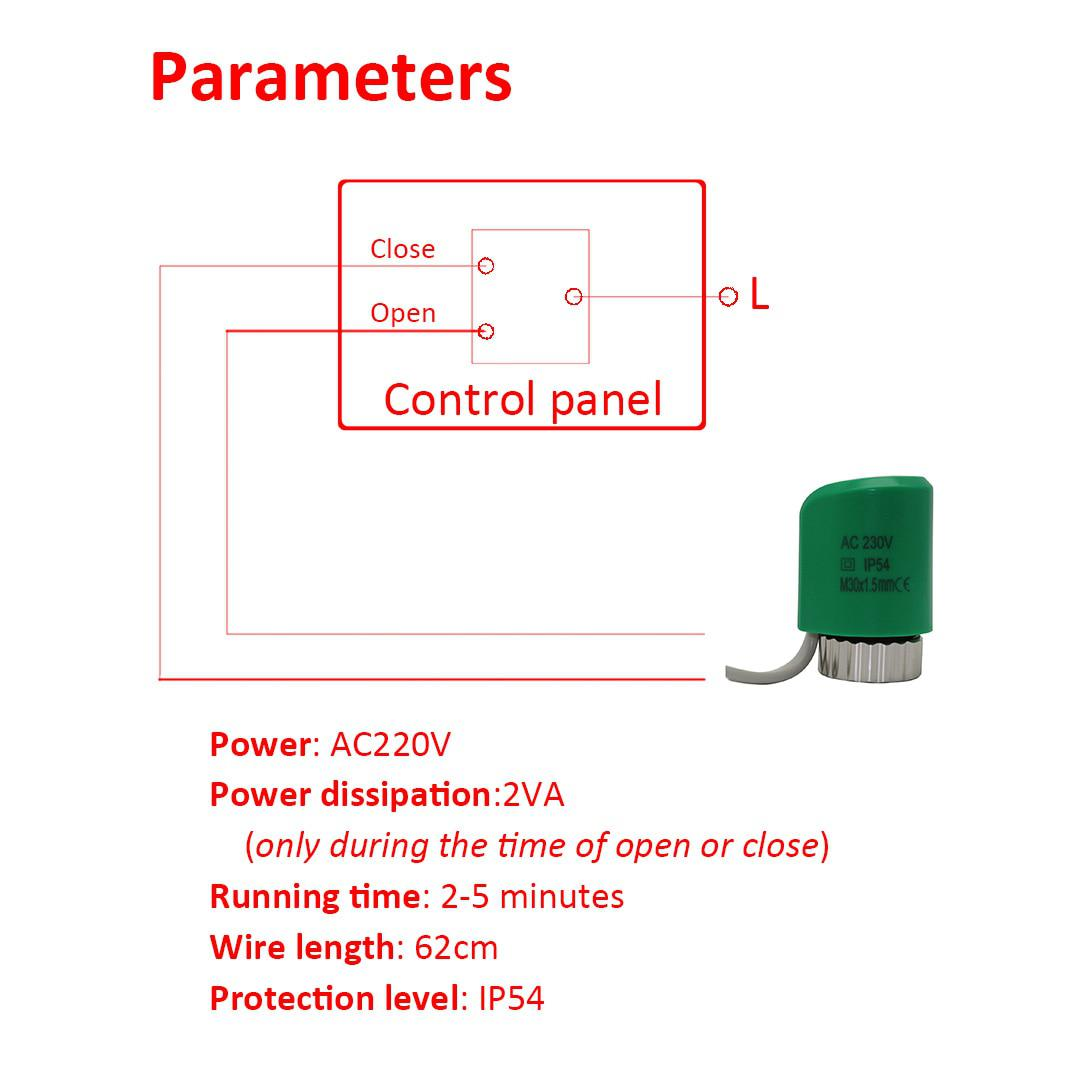 No Nc 220v Normally Open Close Thermal Electric Actuator For Linear Wiring Diagram Underfloor Heating