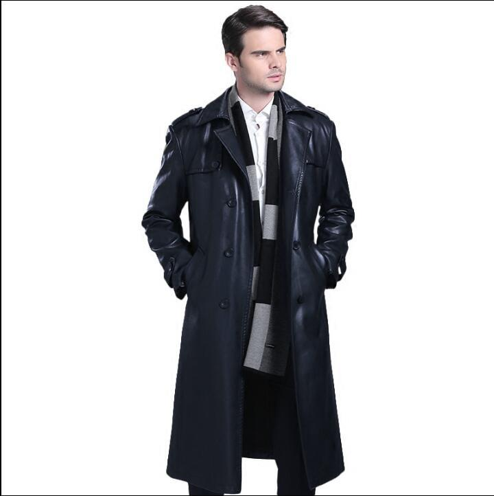 b111918d8 Double breasted leather coats men suits collar long coat mens leather  trench - US $116.22