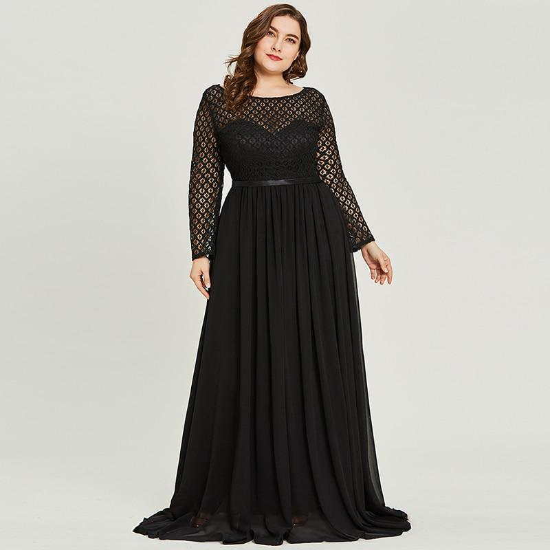 32929272d54 Tanpell scoop neck lace evening dress black full sleeves floor ...