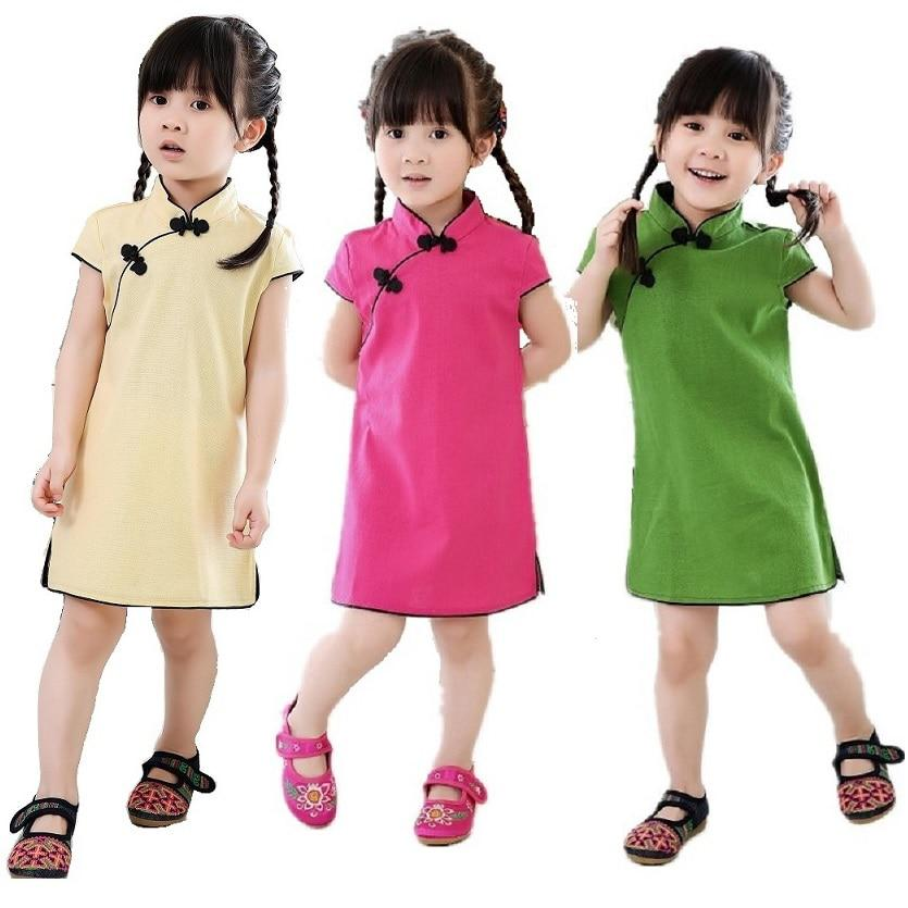 1e0617d6eddb4 Chinese New Year Baby Girls Chi-Pao Dress Kids Traditional Qipao Candy  Solid - US $7.11