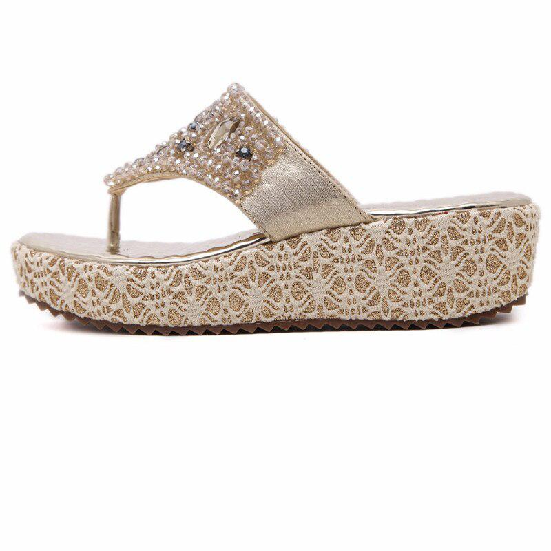 603f03018 MVVJKE Gold Silver Beading Rhinestones Women Summer Style Shoes Flip Flops  Women Wedge - Pricearchive.org