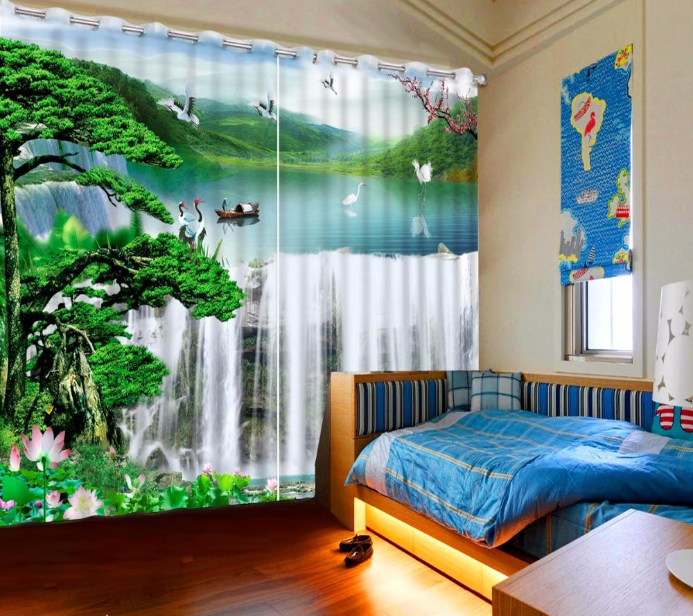 Modern Window Bedroom Curtains Photo Waterfall Landscape Hotel Home 3D