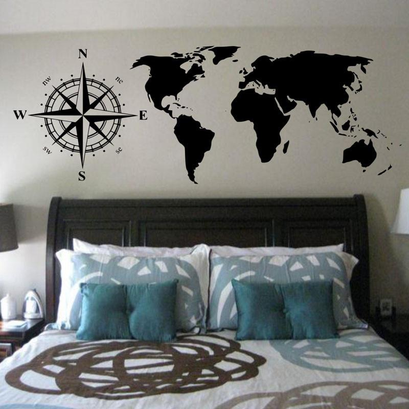 wall stickers Compasses World Map Wall Decals Bedroom Headboard ...