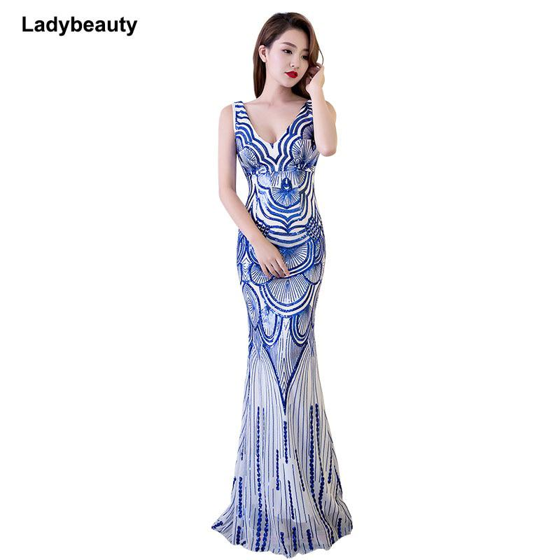 88dfc8a87b Ladybeauty 2018 Vintage white Evening Dress V-Neck prom dress Mermaid  Formal Party - US $47.60