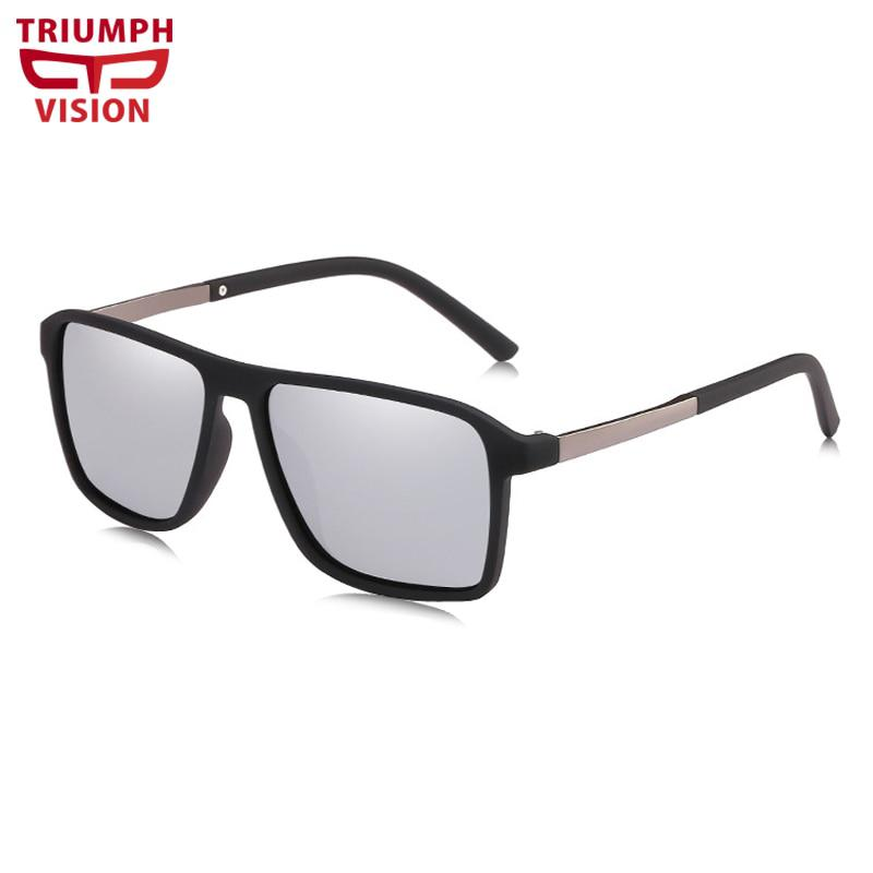 b31fe3a6885 TRIUMPH VISION Polarized Silver Mirror Shades Men Flat Top Square ...