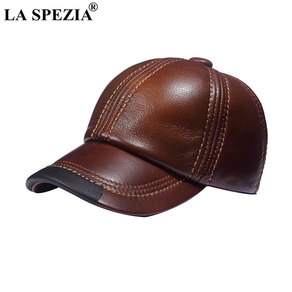 68f00ae892d LA SPEZIA Brown Baseball Caps Men Genuine Leather Casual Peaked Hat Male  Adjustable Winter Natural Leather