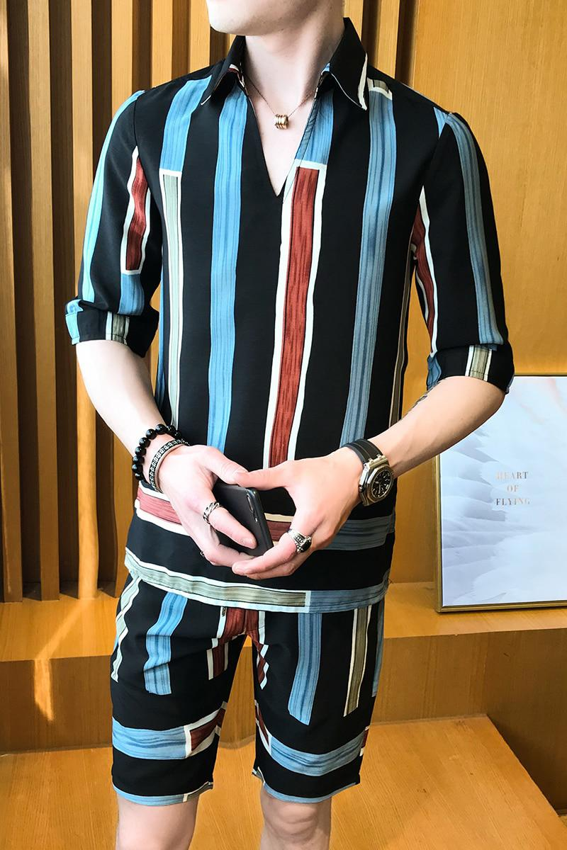 d96ae420a36d Fashion 2018 Mens Stripe Shirts And Pants Korea Style Two piece Set -  Pricearchive.org