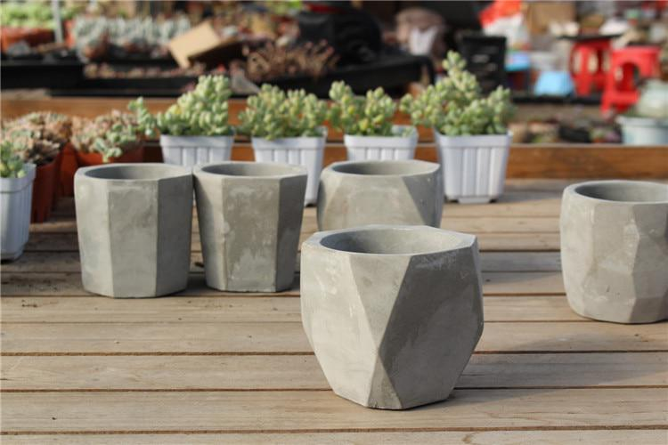 Creative Polygon Vase Concrete Planter Mold Handmade Craft Home