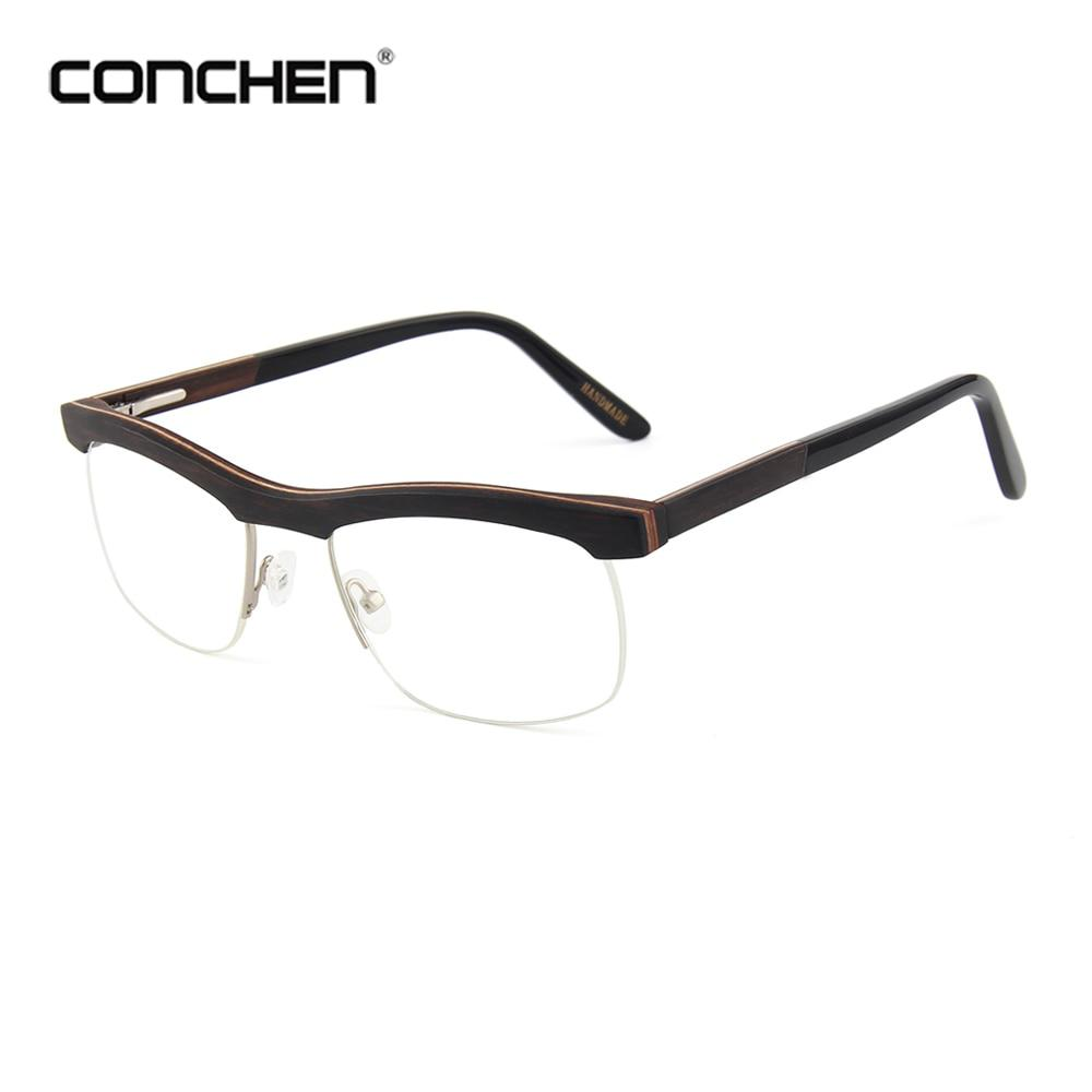 CONCHEN Wooden Eyeglass Frames Men Optical Plain Glasses Women Full ...