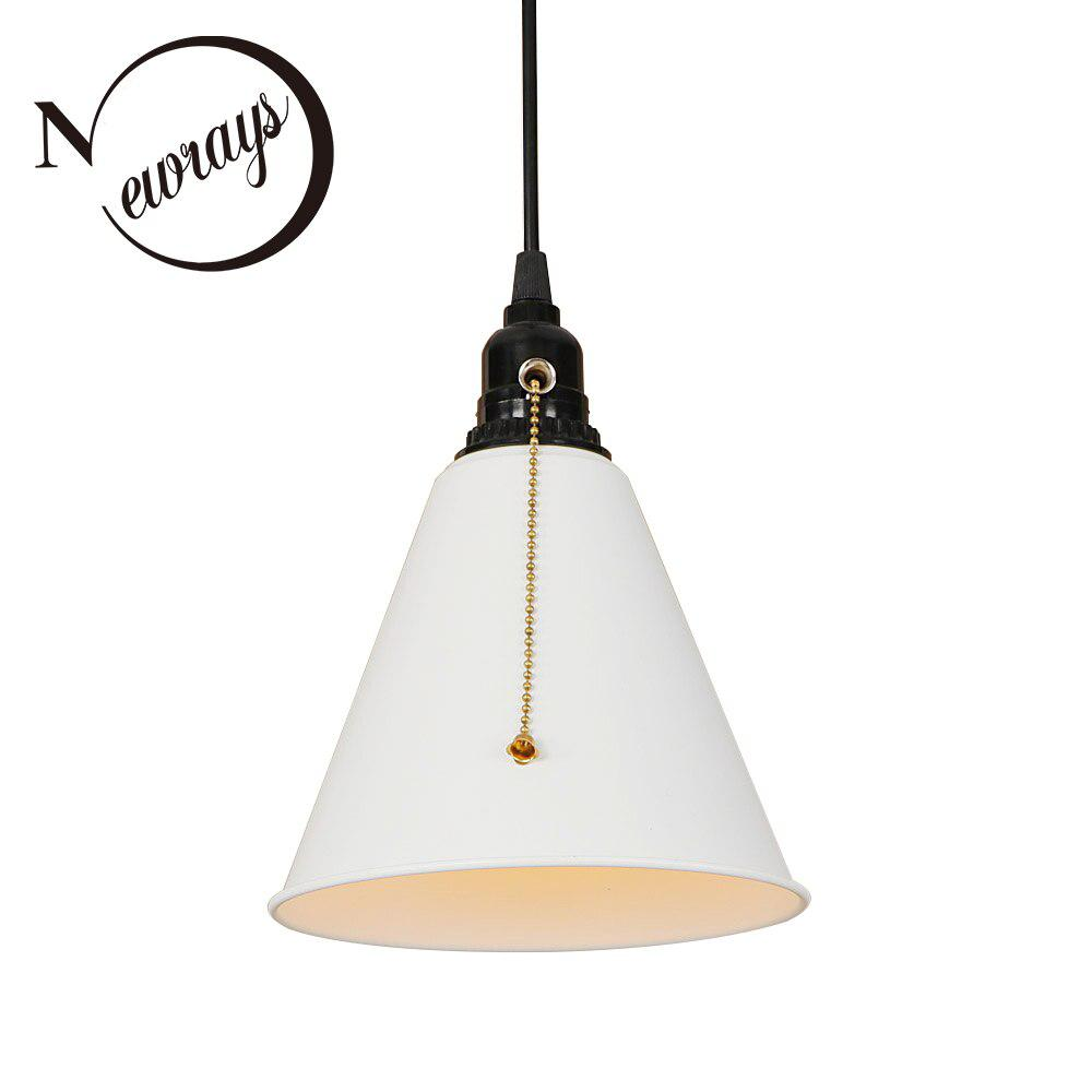 Modern iron black painted pull chain switch hanging lamp E27 LED ...