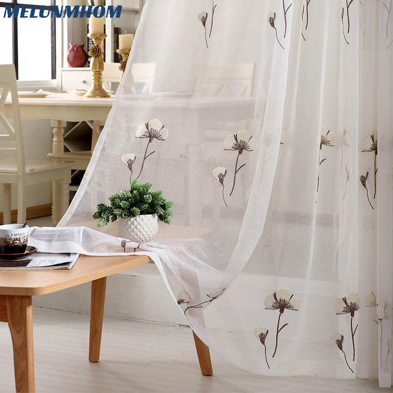 2018 Modern Fl Embroidered Tulle Window Treatments Sheer Curtains For