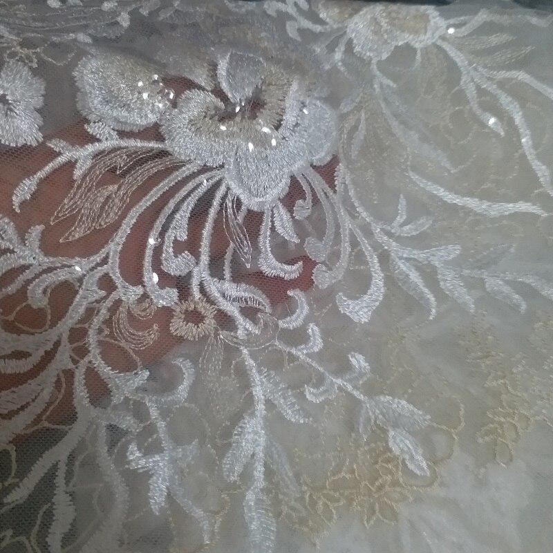 130cm100cm Plum Embroidered Lace Fabric For Wedding Dress Off White