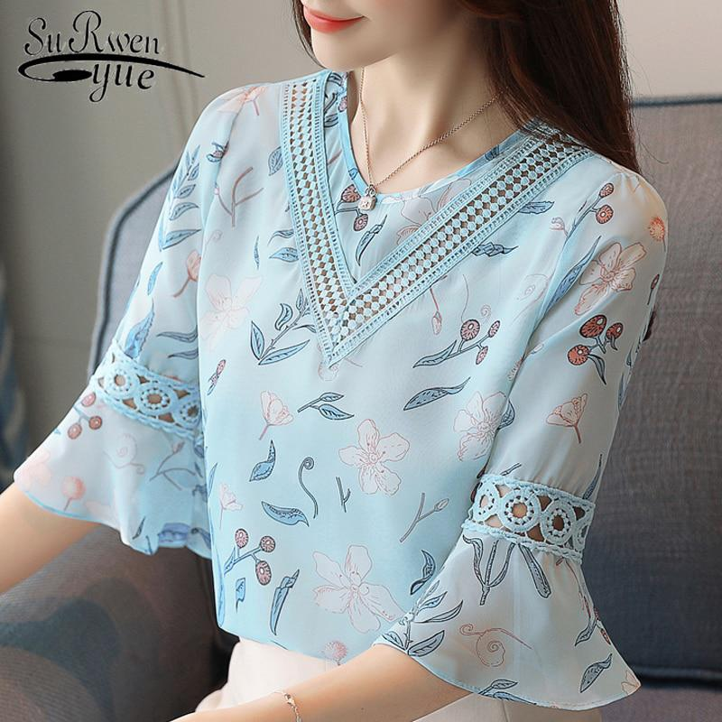 52f81cdb46a4 new 2018 printed chiffon blouse women shirt flare sleeve summer ...