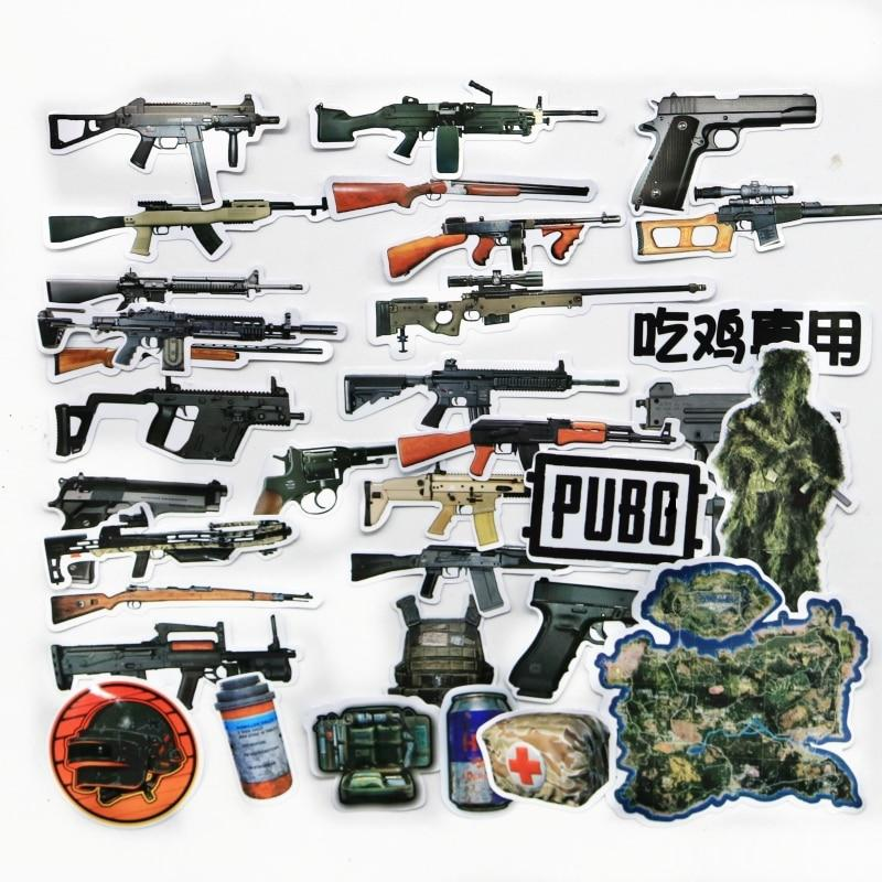 32 PCS/Lot Playerunknown's Battlegrounds gun PUBG Game stickers 98k AKM  M416 sticker - US $1 79