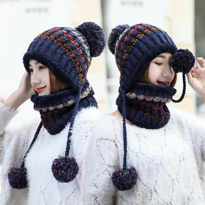 ff749c0658a oZyc Winter Warm Women Knitted Hat Scarf Two Pieces Set Fashion Wool  Thickening Hat Collars Female