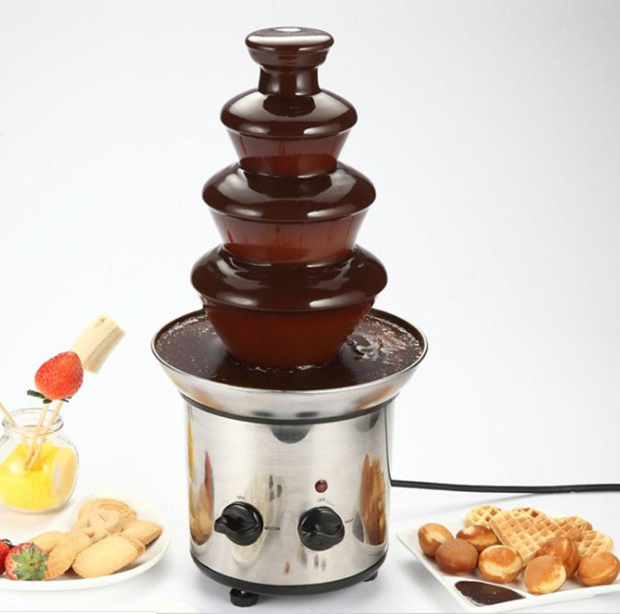 Multicookers 4 Layer Diy Chocolate Fountain Machine Falls Hot Pot Lava Machine Automatic Melting Tower Home Party Activities Profit Small