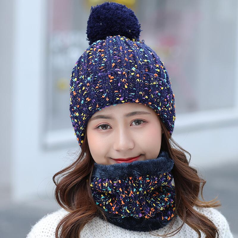 51eb34978effe BINGYUANHAOXUAN 2-Pieces Winter Beanie Hat Scarf Set Warm Knit Hat Thick  Fleece Lined Winter