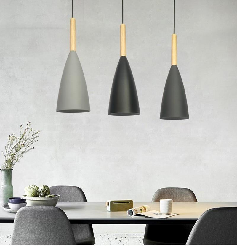 Wooden Nordic Pendant Lights Dining Room Led Lamps Modern