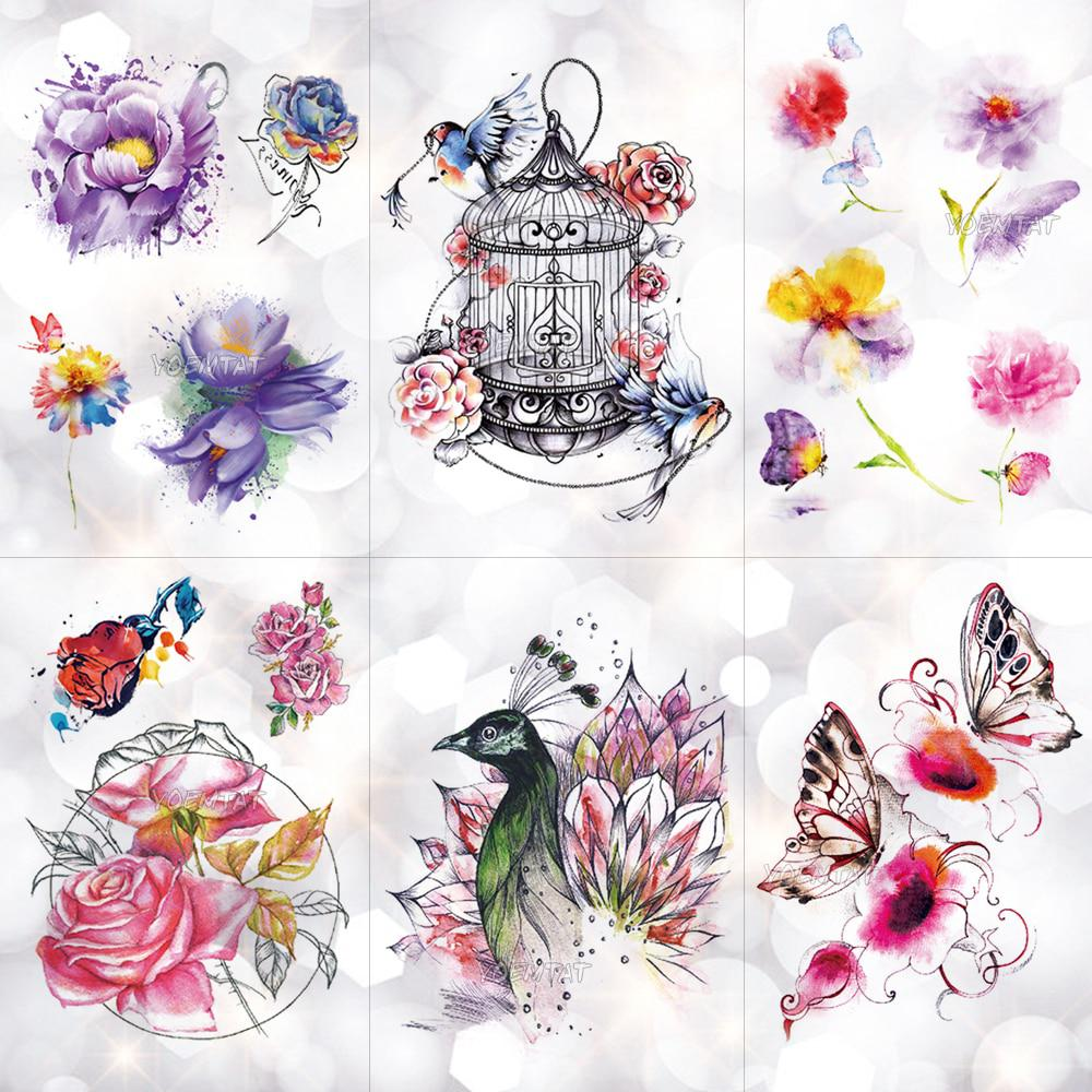 64e4ec690e6b3 Bird Cage Peacock Flowers Waterproof Temporary Tattoo Sticker Body Art Arm  Watercolor Drawing Tattoo Butterfly Rose